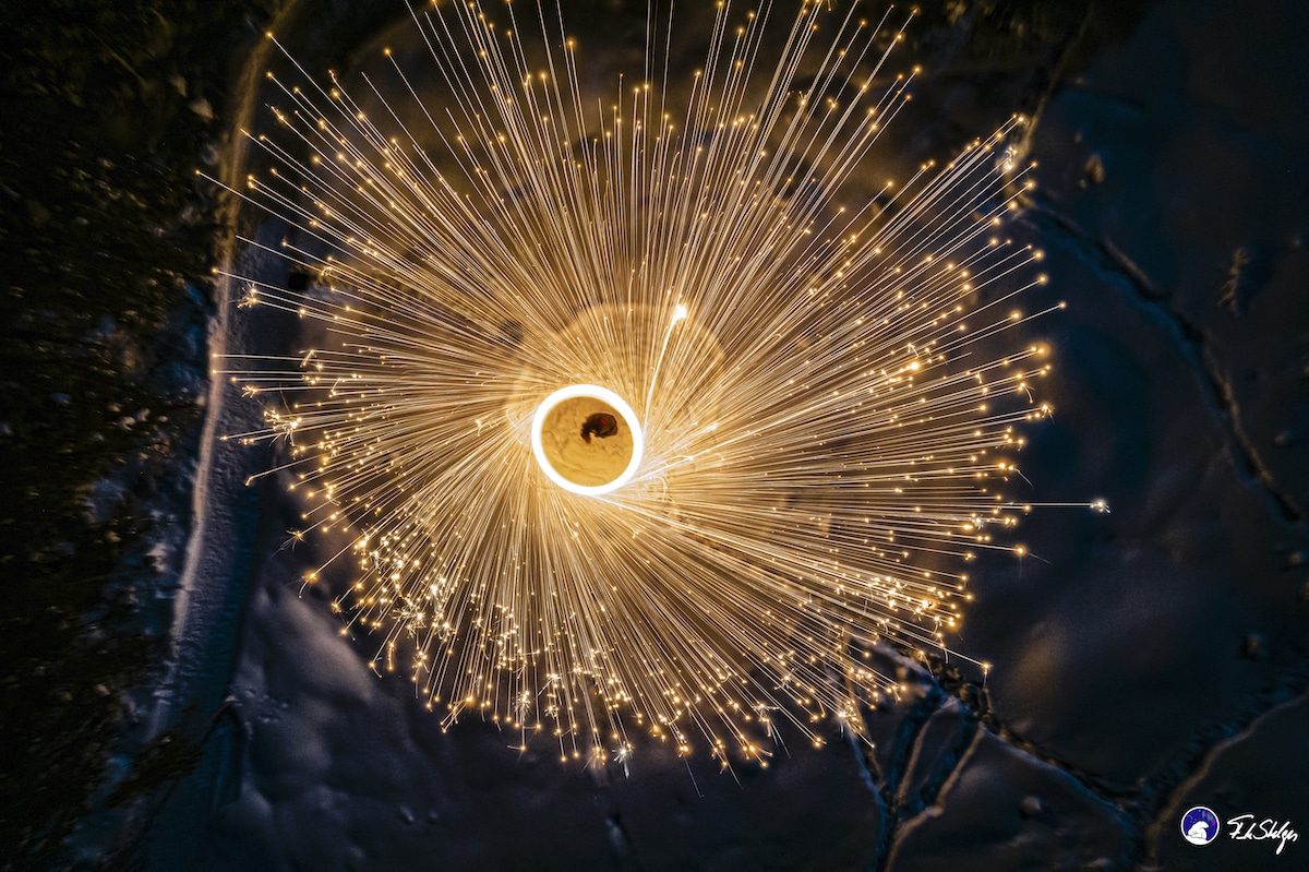 Drone Spark-tacular Photos of Steel Wool Lighting Up the Night Sky